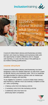 Course I in Initial Adult Literacy and Numeracy