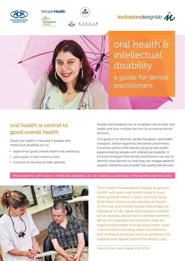 Cover of Oral Health and iIntellectual Disability facts booklet